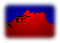 Lennon profile in red and blue