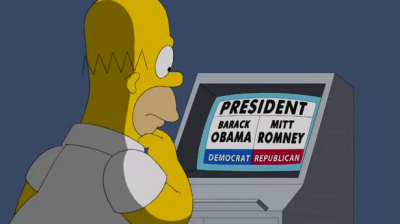 Homer's unfortunate choices: Obama or Romney