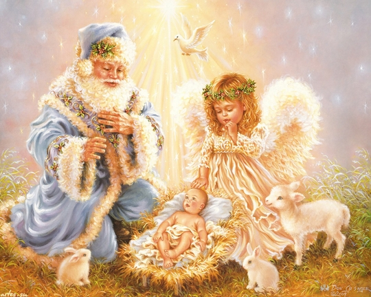 Santa and angel kneeling by creche